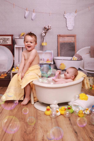 Kate Bath Time Baby Backdrop Rubber Ducks and Bubbles Photos Designed by Erin Larkins