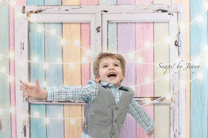 Katebackdrop:Kate Birthday Baby Colorful Wood Wall with Window Easter Backdrop for Children Designed by JFCC