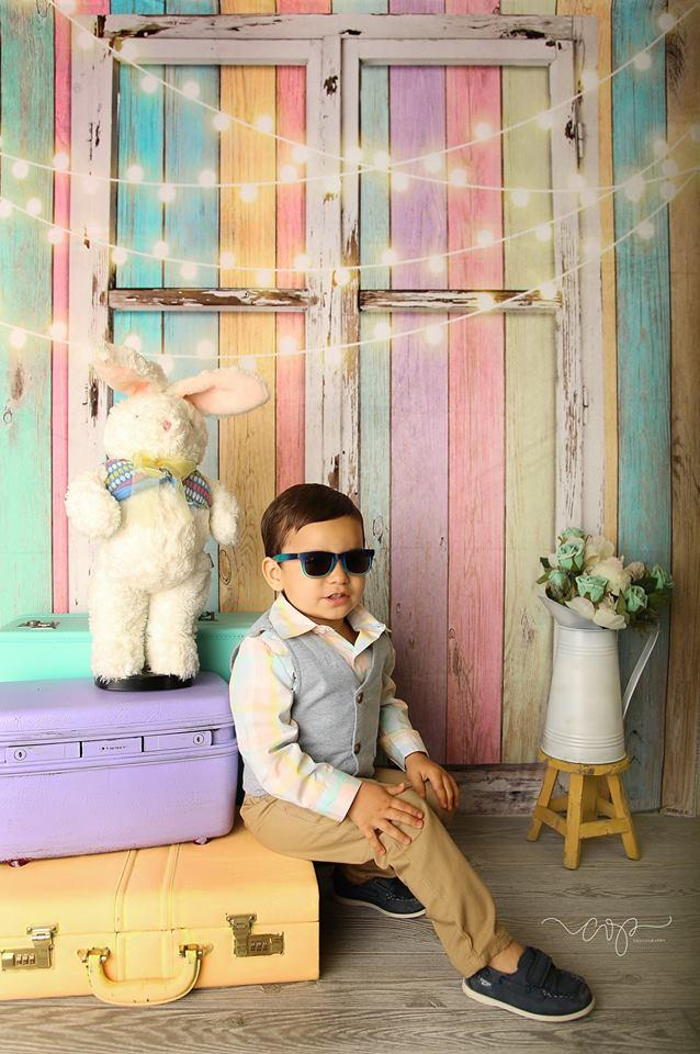 Load image into Gallery viewer, Katebackdrop£ºKate Birthday Baby Colorful Wood Wall with Window Easter Backdrop for Children Designed by JFCC