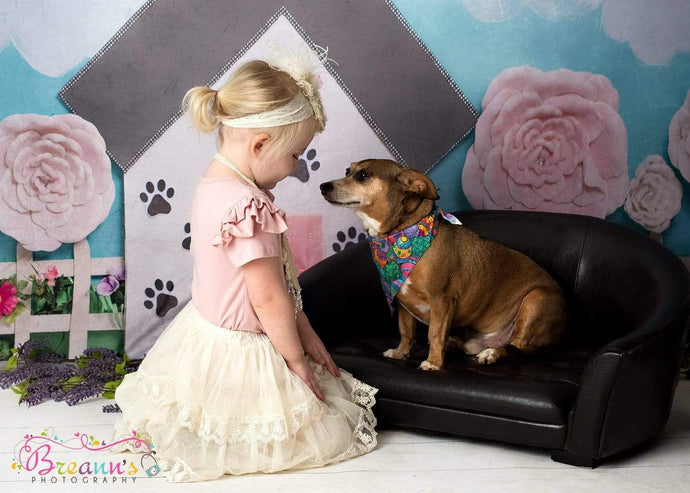 Katebackdrop:Kate Pet Park Railing with flowers Spring Children Backdrop for Photography Designed by Erin Larkins