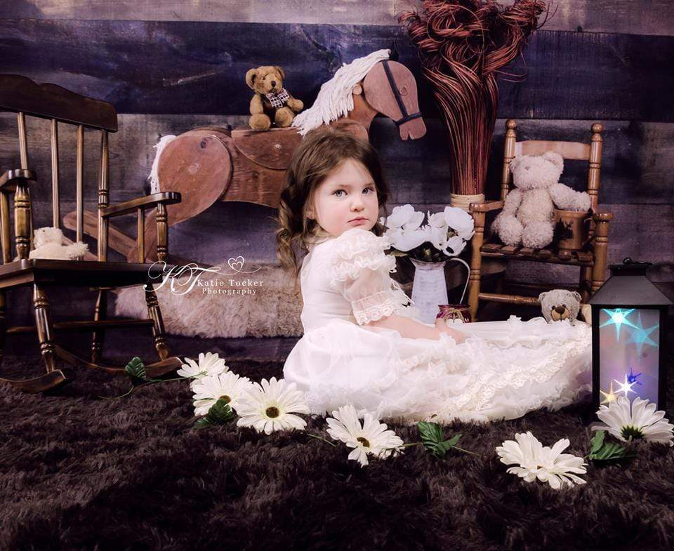 Katebackdrop£ºKate Rocking Horse and Teddy Bear Children Backdrop for Photography Designed by Amanda Moffatt