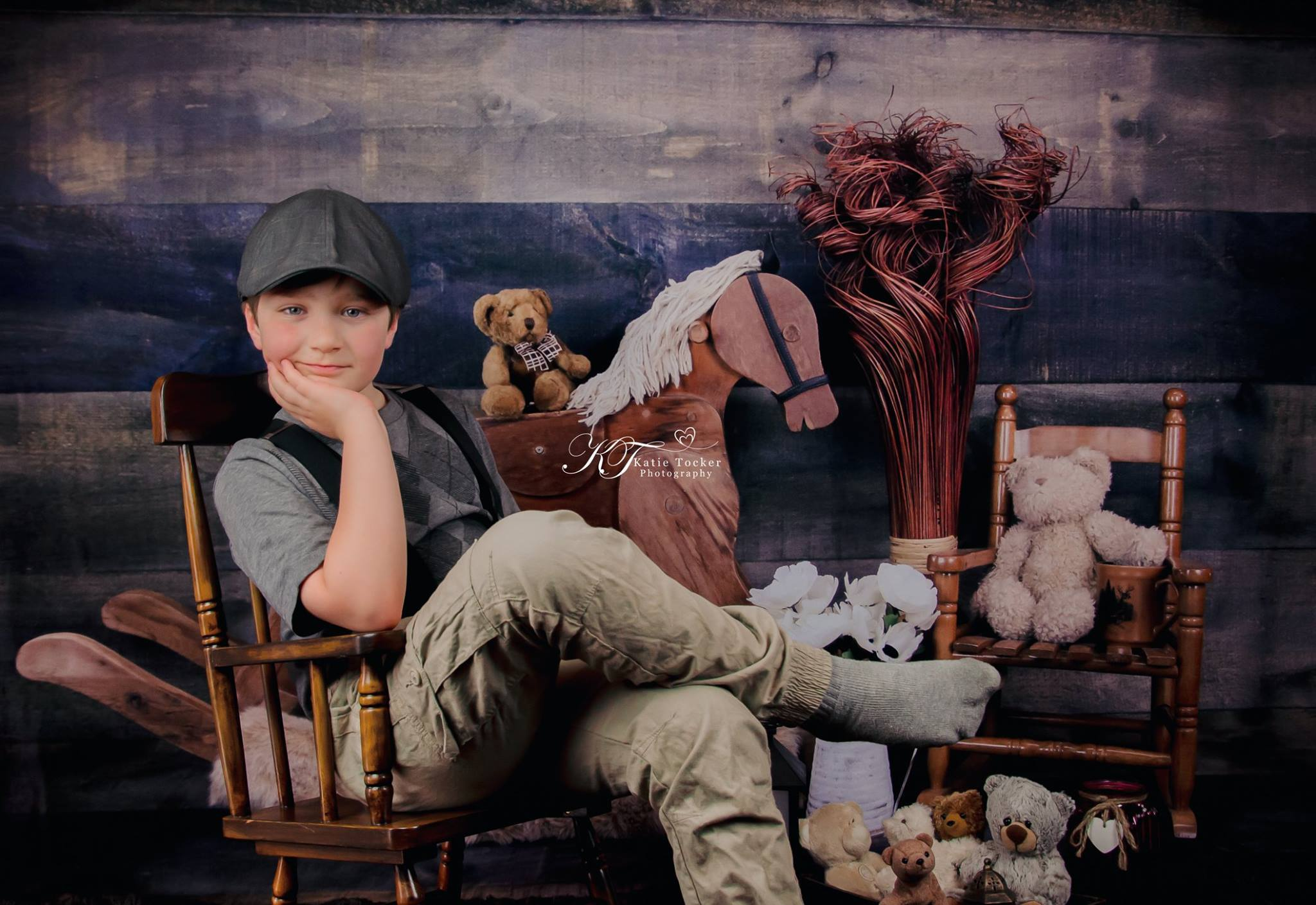 Load image into Gallery viewer, Katebackdrop£ºKate Rocking Horse and Teddy Bear Children Backdrop for Photography Designed by Amanda Moffatt