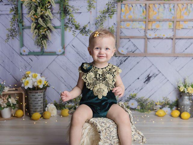 Load image into Gallery viewer, Katebackdrop:Kate Retro Wood Lemon color and Daisies  Spring Backdrop