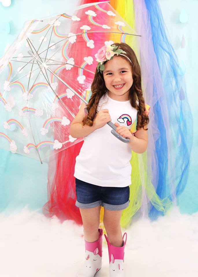 Katebackdrop£ºKate Rainy Spring Rainbow Flowers Children Backdrop Designed by Leann West