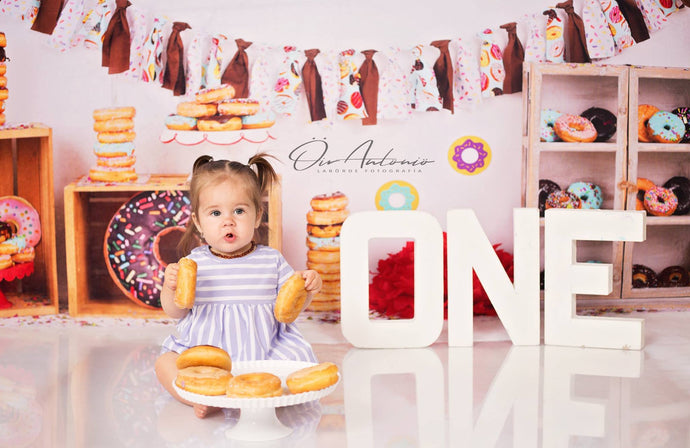 Katebackdrop:Kate Chocolate Donut Banners Children Birthday Backdrop