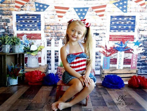 Kate Retro Brick with Banners Independence Day Backdrop for Photography Designed by Leann West
