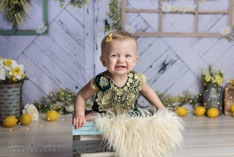 Kate Retro Wood Summer Daisies Lemon Backdrop Design by Shutter Swan Studios