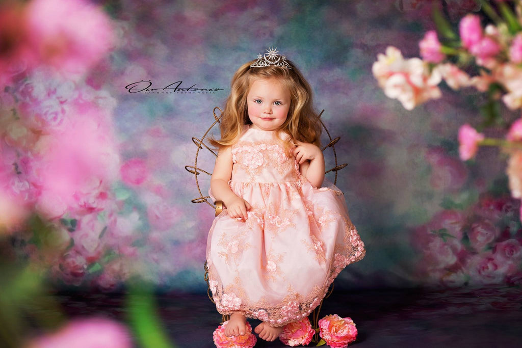 Kate Valentine's Day Pink Flowers Hand Painting Portrait Photography Backdrops US