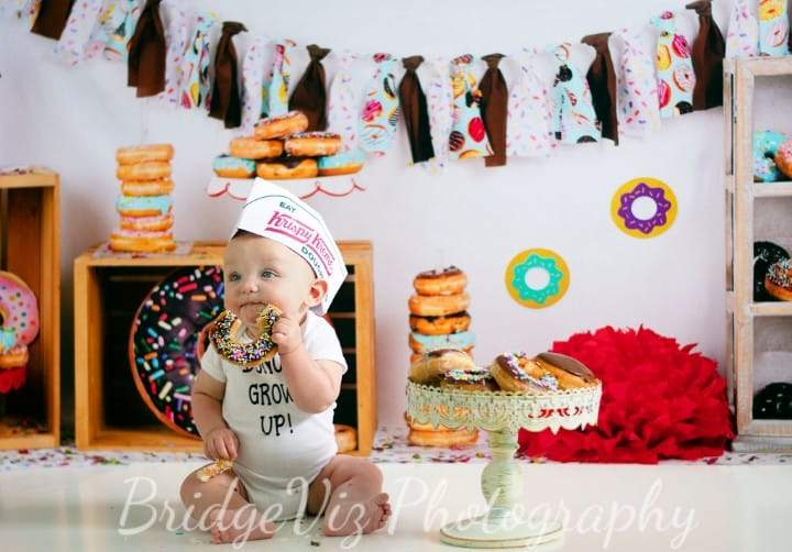 Katebackdrop£ºKate Chocolate Donut Banners Children Birthday Backdrop