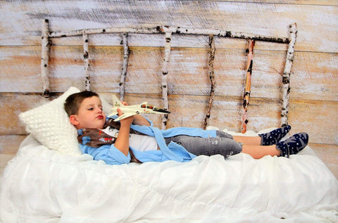 Kate Christmas Wood Wall Birch bed Simple Backdrop designed by Arica Kirby