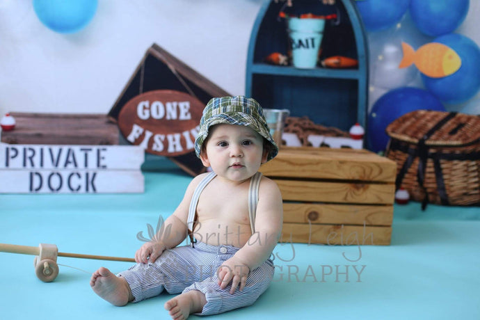 Katebackdrop:Kate Fish and Balloons Birthday Baby summer Backdrop for Photography Designed by Amberly Ware