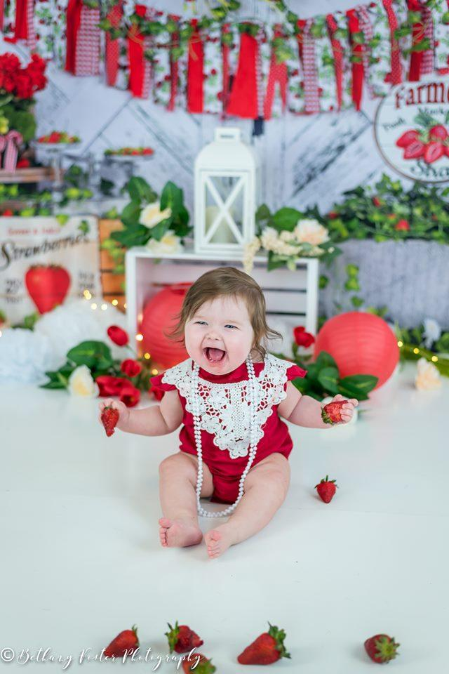 Load image into Gallery viewer, Kate Summer Strawberry White Wooden Board With Banners Backdrop Designed by Shutter Swan Studios