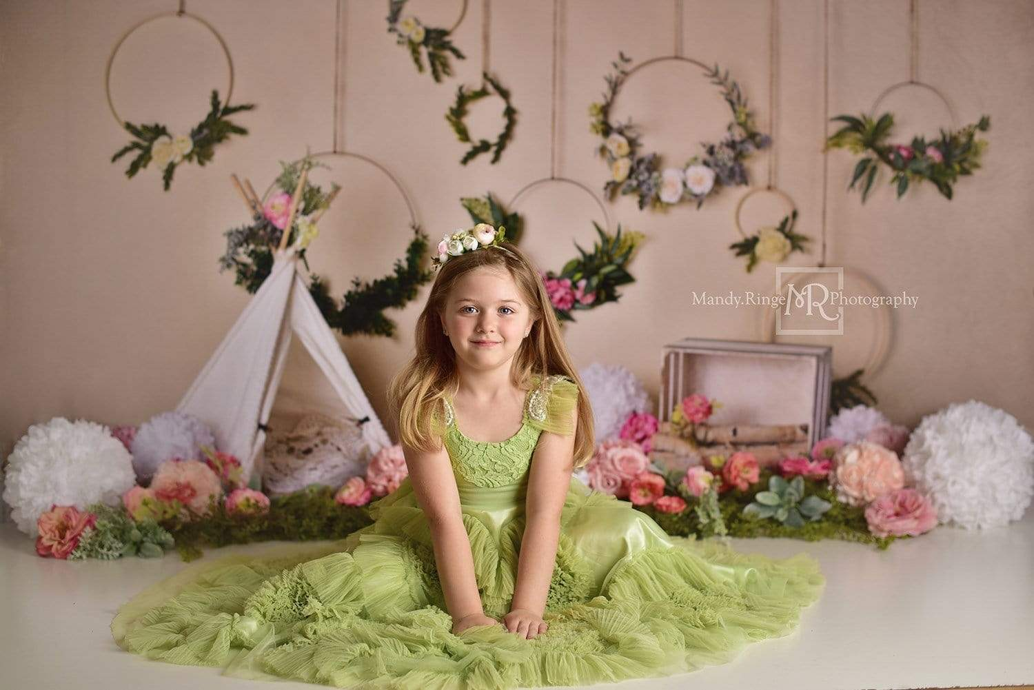 Load image into Gallery viewer, Katebackdrop£ºKate Spring Flowers Camping Children Backdrop for Photography Designed by Mandy Ringe Photography