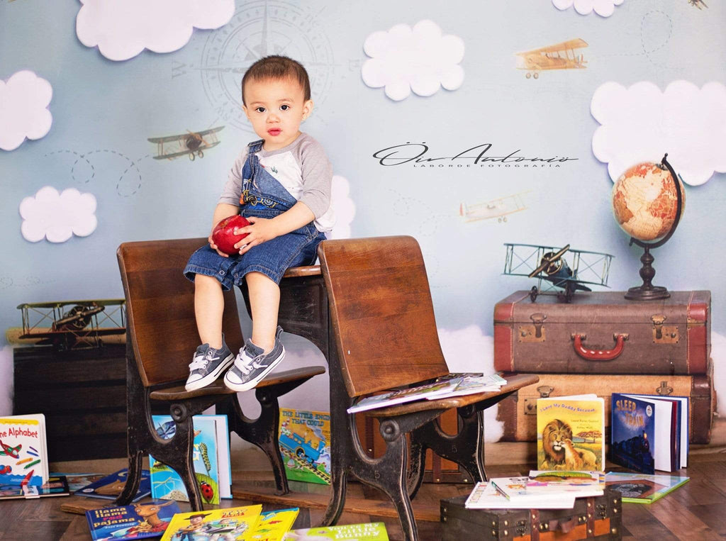 Katebackdrop£ºKate Come Fly with Me Cloud Back to School Children Backdrop for Photography Designed by Erin Larkins