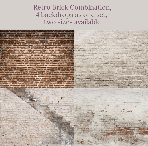 Distressed Brick combination backdrops for photography( 4 backdrops in total )