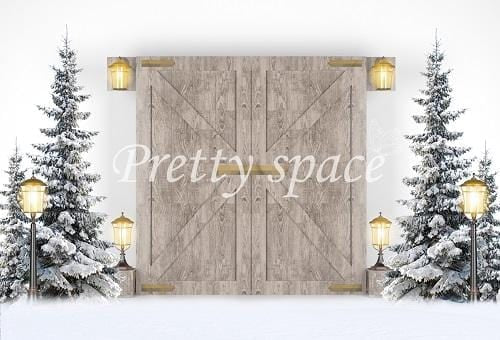 Kate Xmas/Winter Backdrop Snow Trees Lights with Door Designed by Prettyspace
