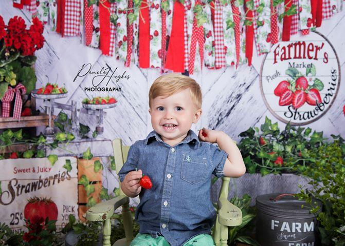 Katebackdrop:Kate Summer Strawberry White Wooden Board With Banners Backdrop
