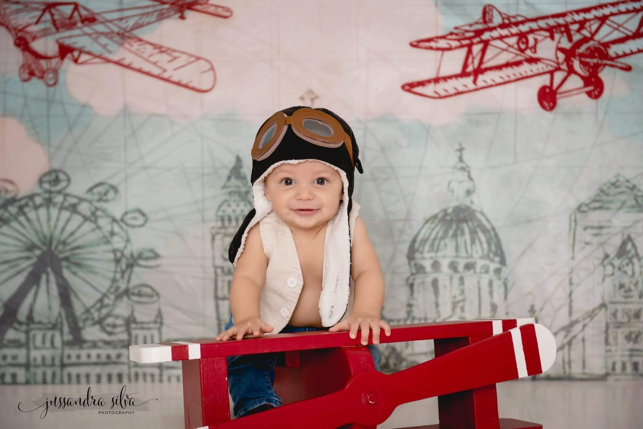 Load image into Gallery viewer, Katebackdrop£ºKate Vintage Biplanes over City Children Backdrop for Photography Designed by Amanda Moffatt
