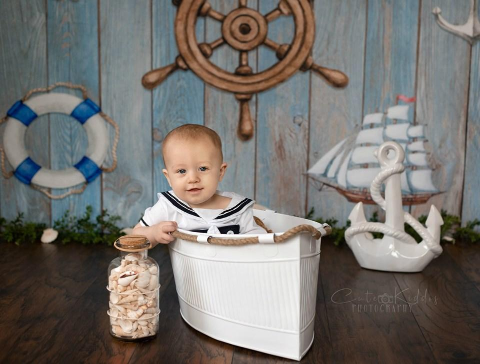 Load image into Gallery viewer, Katebackdrop£ºKate Adventure Nautical Sailor Children Backdrop for Photography Designed by JFCC