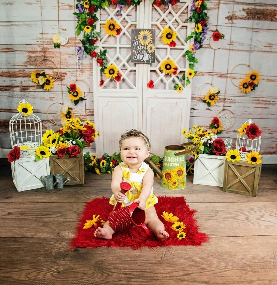 Load image into Gallery viewer, Katebackdrop£ºKate You Are My Sunshine Vintage Wall Summer Sunflower Mother's Day Backdrop Designed by Stacilynnphotography