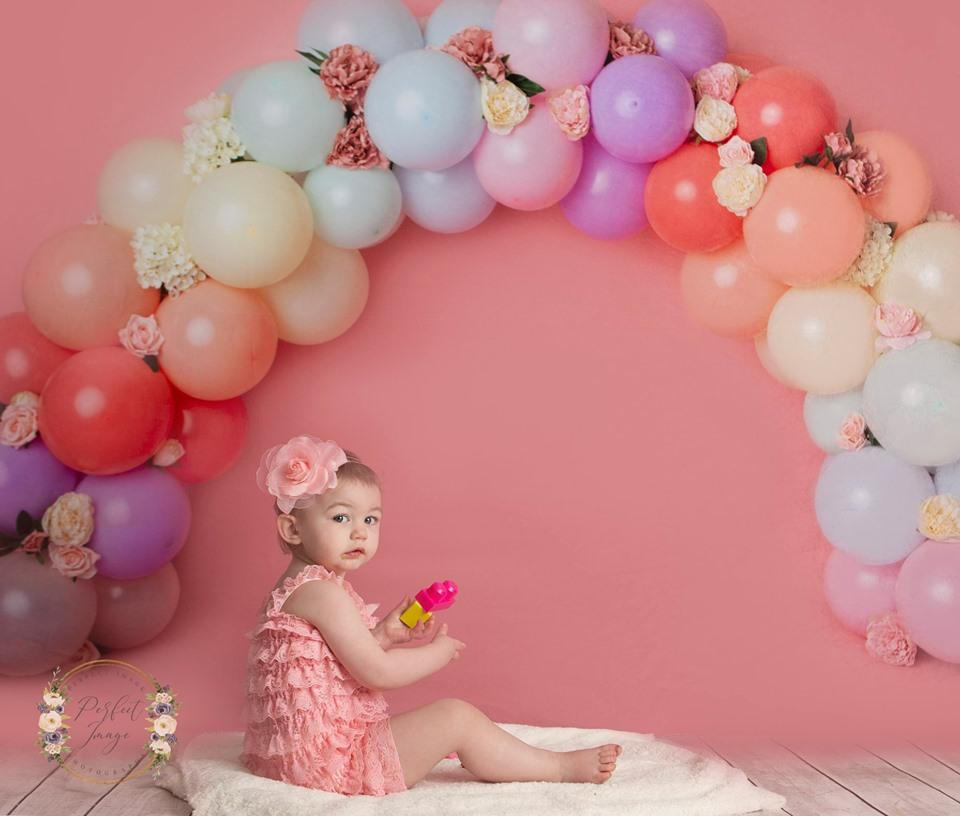 Load image into Gallery viewer, Kate Rainbow Floral Balloons Birthday Children Backdrop for Photography Designed by Kerry Anderson