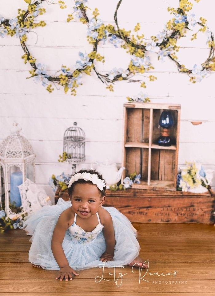 Katebackdrop£ºKate Enchanted Blue Floral Wreaths Backdrops Designed by Arica Kirby