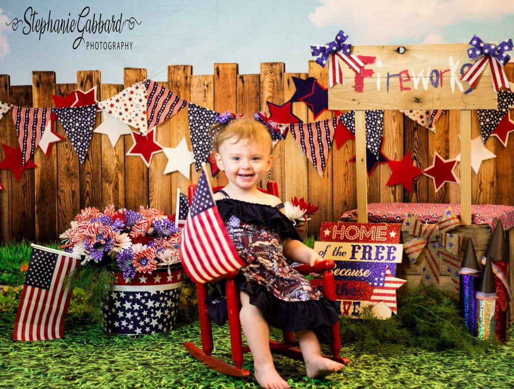Katebackdrop:Kate American Firework 4th of July Children Backdrop for Photography Designed by Stephanie Gabbard