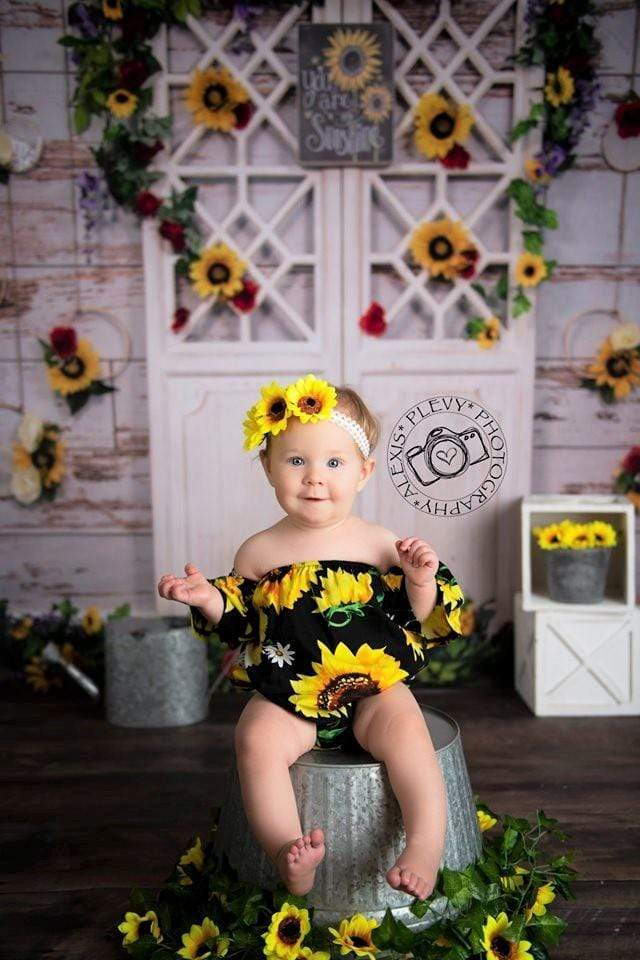 Load image into Gallery viewer, Katebackdrop:Kate You Are My Sunshine Summer Sunflower Mother's Day Backdrop Designed by Stacilynnphotography