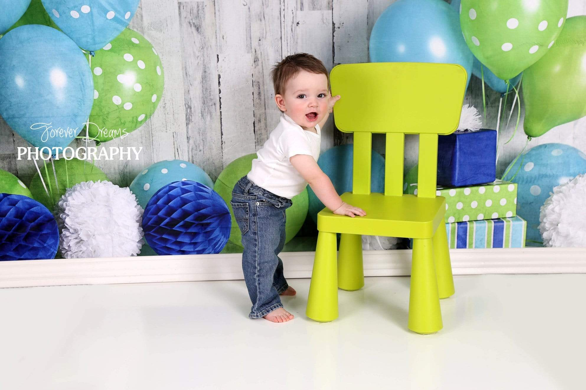 Load image into Gallery viewer, Kate Blue and Lime Green Birthday Children Backdrop for Photography Designed by Mandy Ringe Photography
