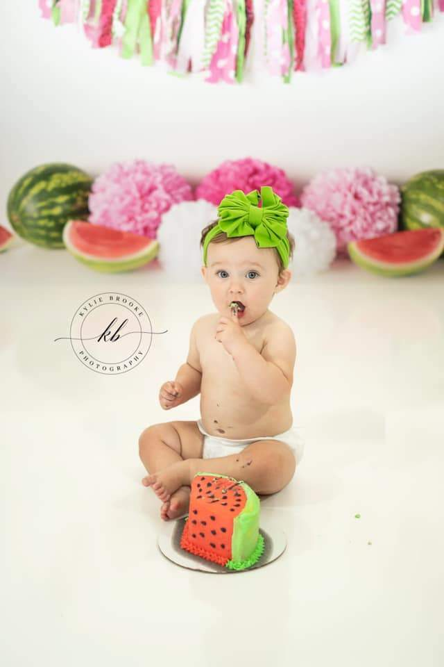 Katebackdrop£ºKate Summer Pink and Green Watermelon Birthday Backdrop for Photography Designed by Mandy Ringe Photography
