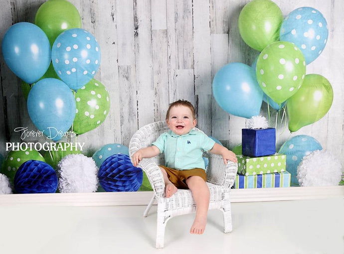 Katebackdrop:Kate Blue and Lime Green Birthday Children Backdrop for Photography Designed by Mandy Ringe Photography