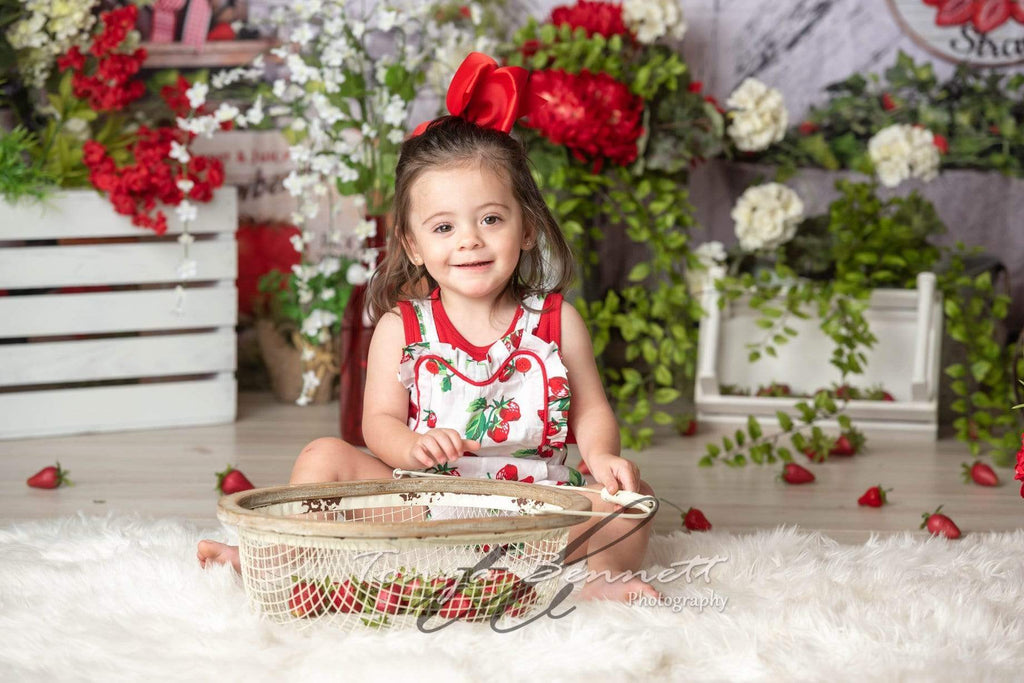 Kate Summer Strawberry White Wooden Board With Banners Backdrop Designed by Shutter Swan Studios