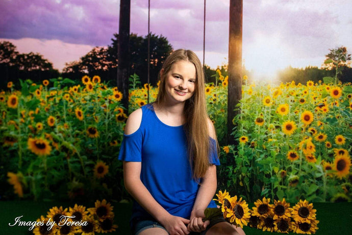 Kate Summer Sunflower Swing Backdrop for Photography Designed By Pine Park Collection