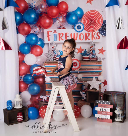 Kate 4th of July Fireworks Balloon Children Backdrop Designed by Lisa B