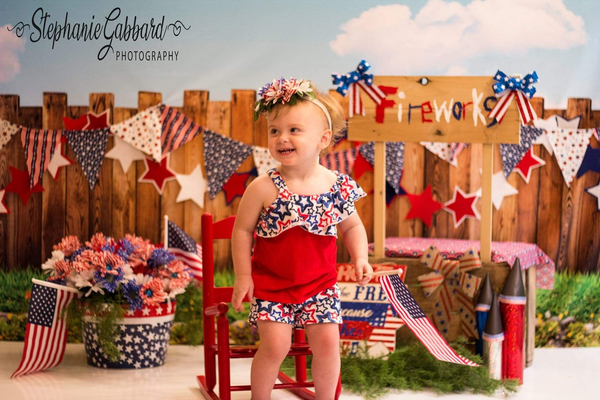Load image into Gallery viewer, Katebackdrop£ºKate American Fireworks Stand 4th of July Children Backdrop for Photography Designed by Stephanie Gabbard