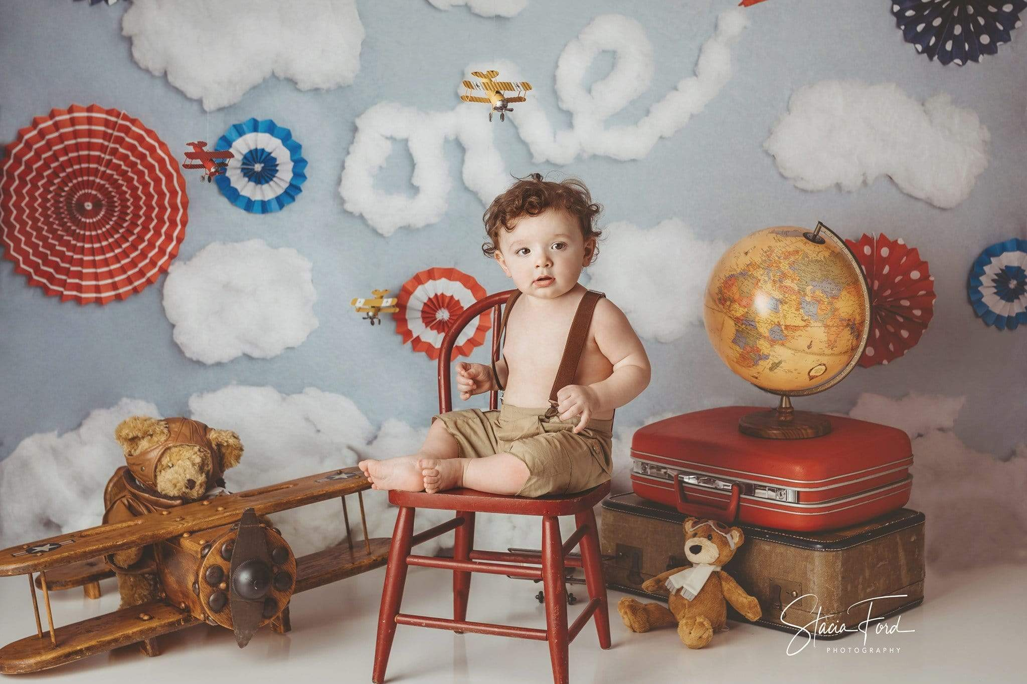 Load image into Gallery viewer, Kate Time Flies Clouds Birthday Children Backdrop for Photography Designed by Lisa B
