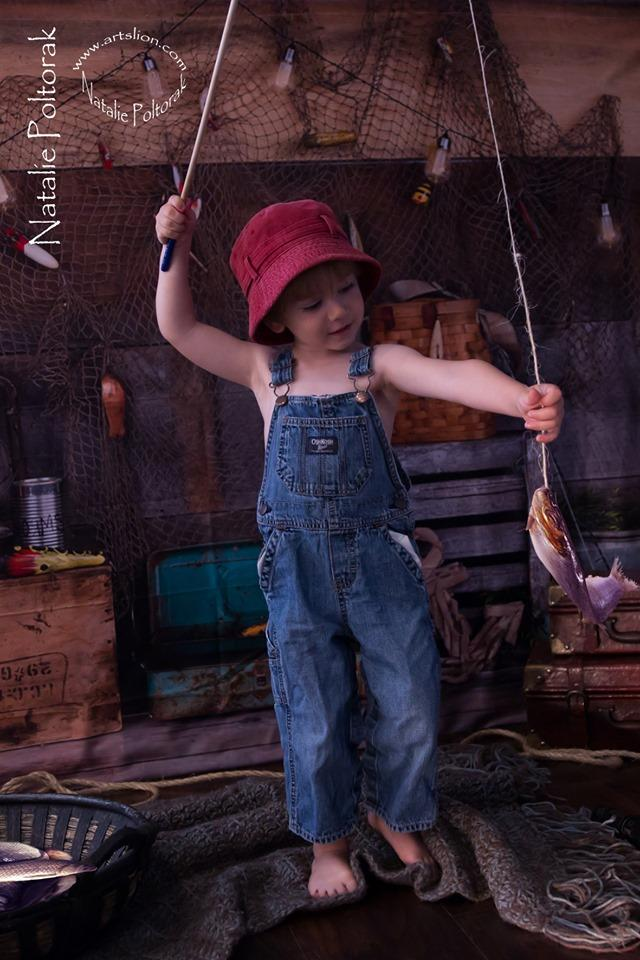 Katebackdrop£ºKate Go Fishing Children Backdrop for Photography Designed By Arica Kirby