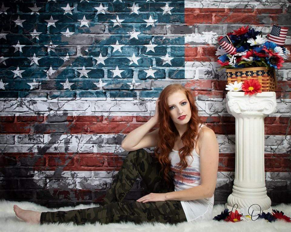Katebackdrop£ºKate Graffiti American Independence Day Brick Backdrop