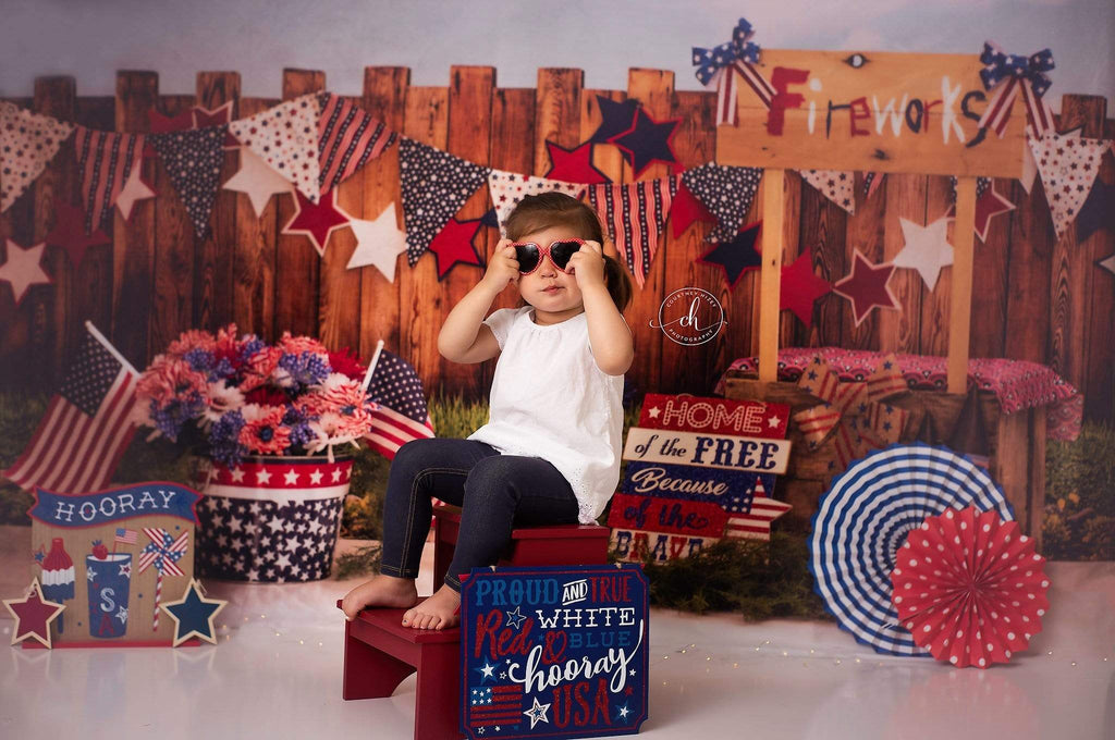 Katebackdrop:Kate American Fireworks Stand 4th of July Children Backdrop for Photography Designed by Stephanie Gabbard