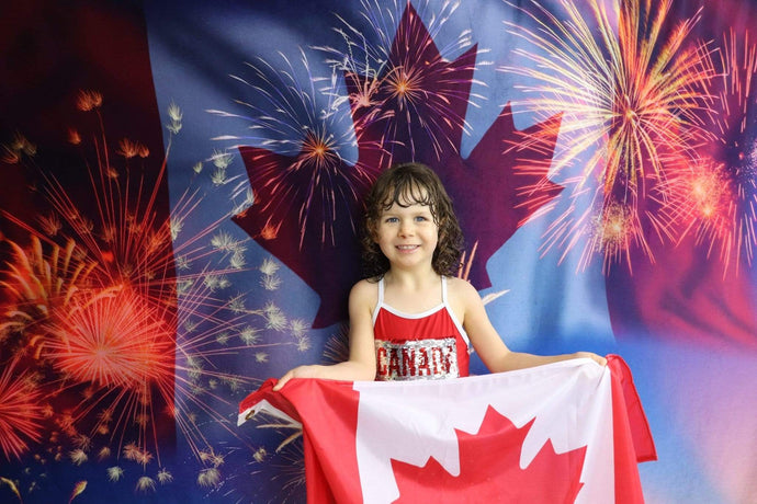Kate Celebrate Canada Day with Canada Flag Fireworks Backdrop for Photography