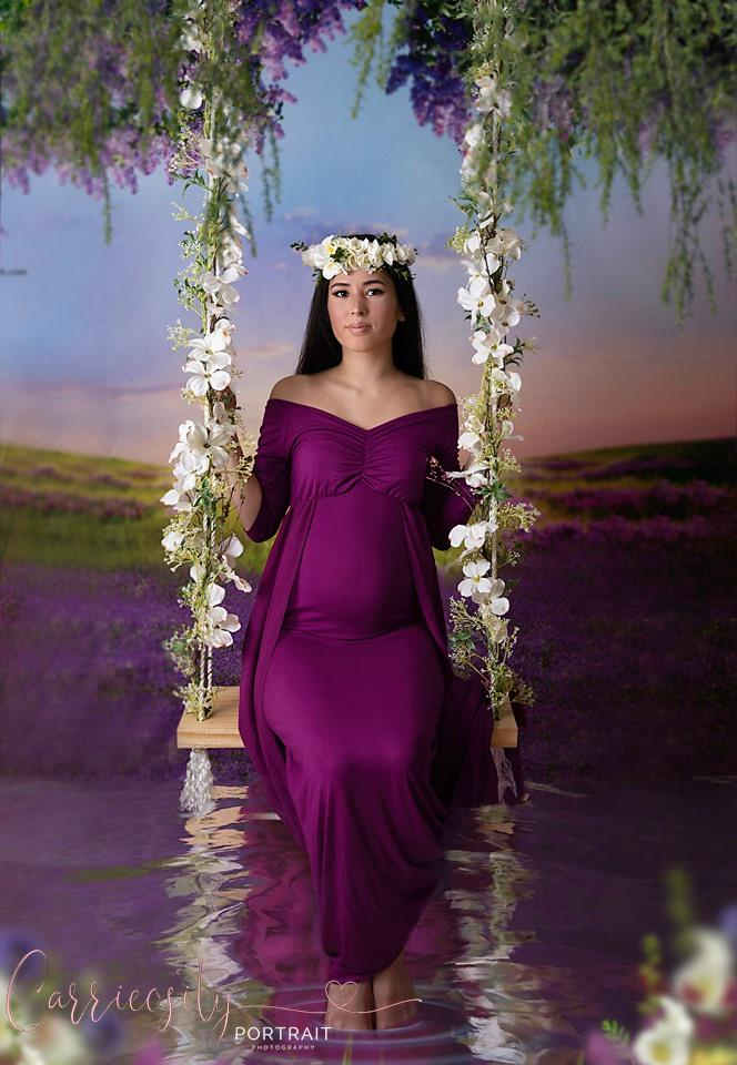 Load image into Gallery viewer, Kate Outdoor Purple Florals Scenery Lavender Backdrop - Katebackdrop