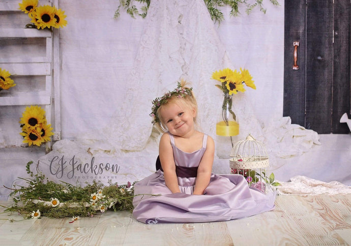Kate Sunflower Teepee for Children Backdrop for Photography Designed By Erin Larkins