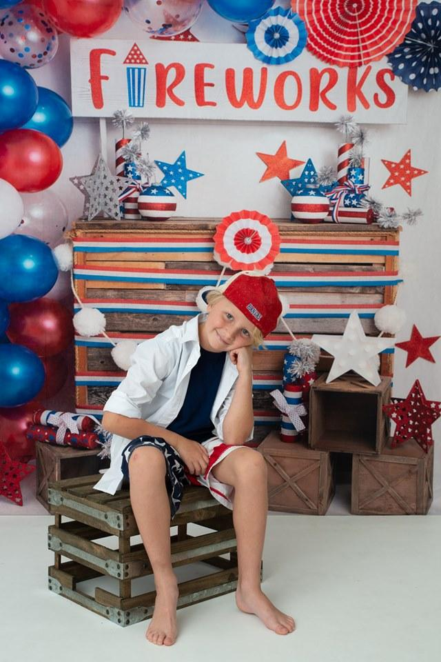 Katebackdrop:Kate 4th of July Fireworks Balloon Children Backdrop Designed by Lisa B