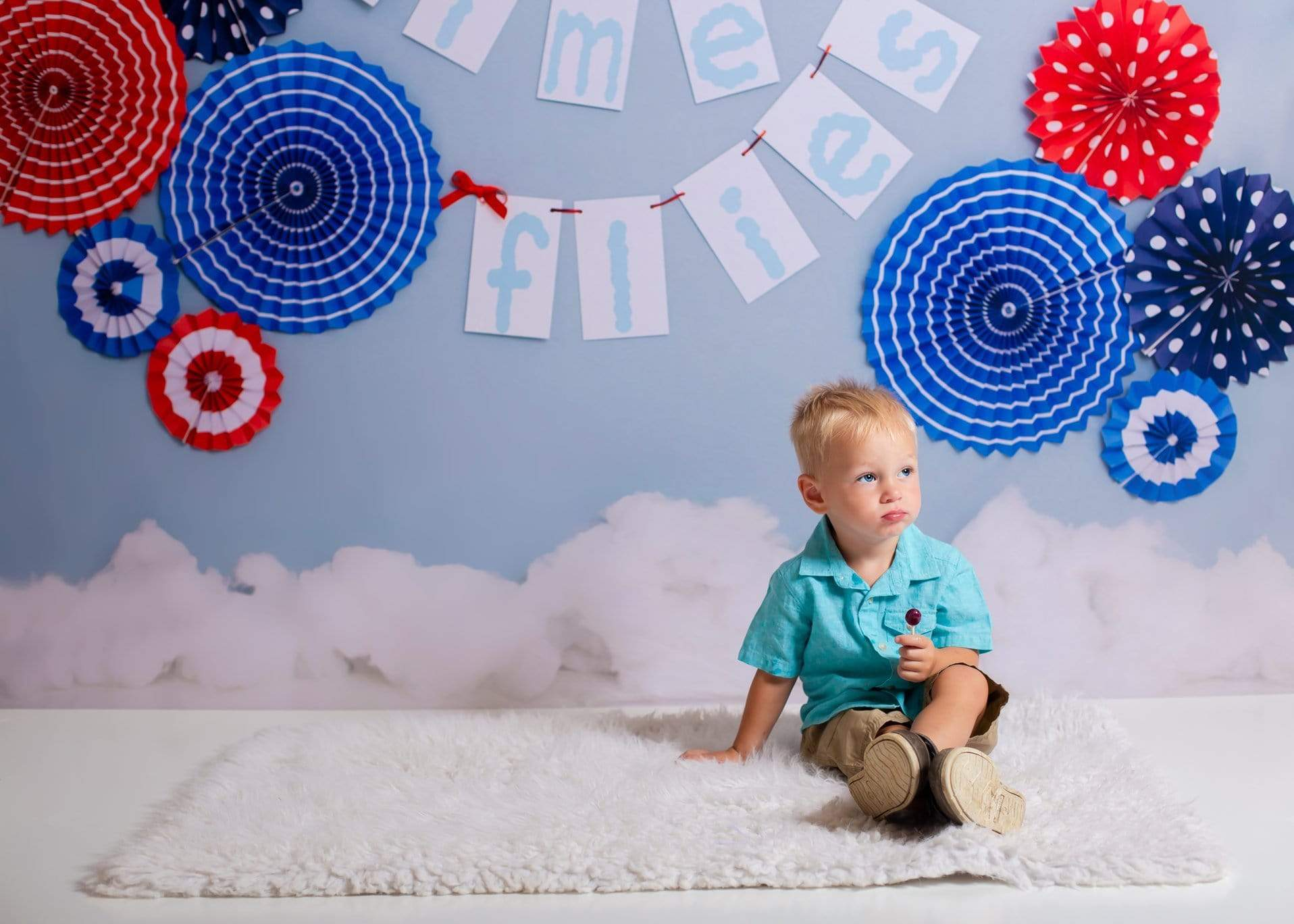 Load image into Gallery viewer, Kate Time Flies Children july of 4th Backdrop for Photography Designed by Lisa B