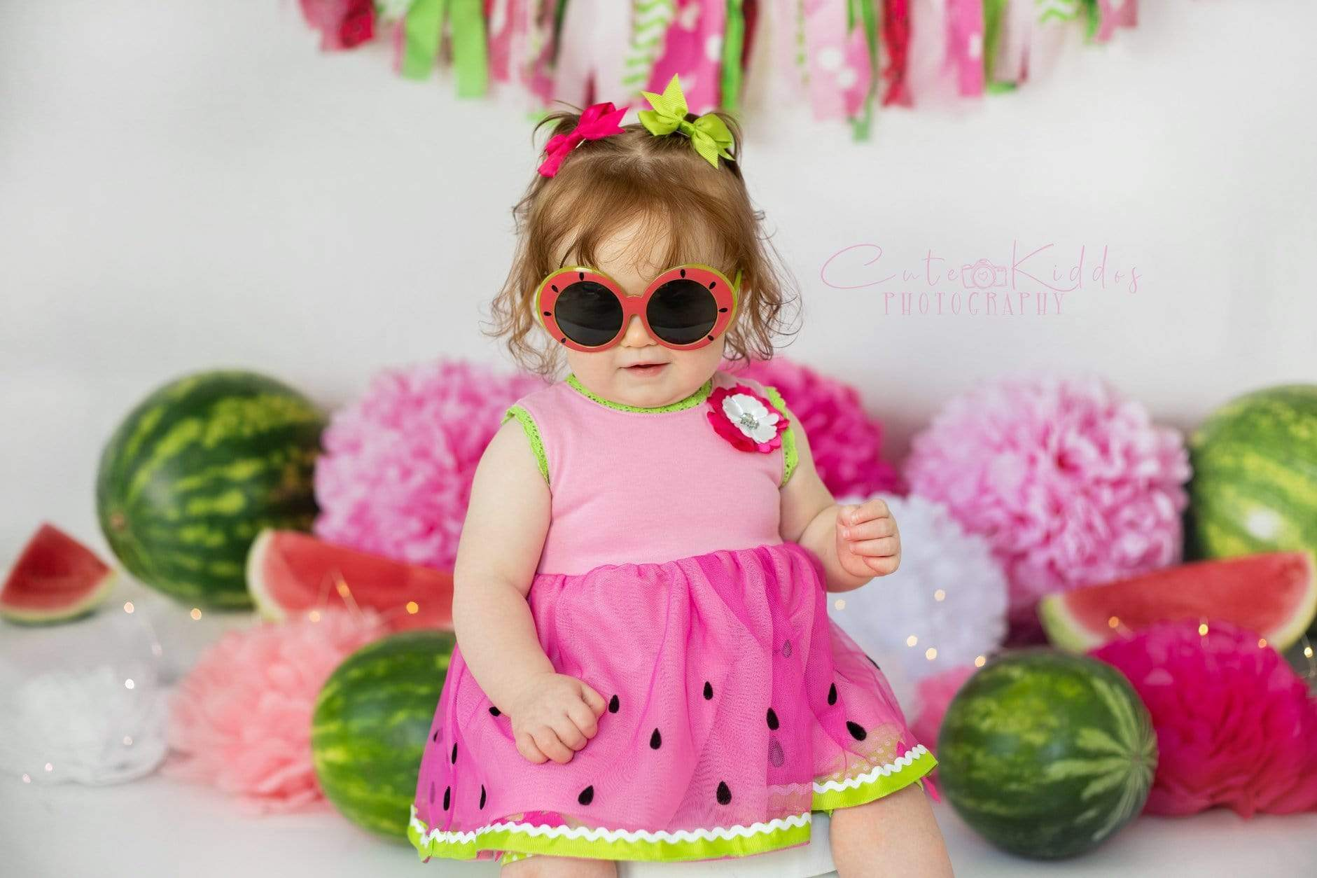Load image into Gallery viewer, Katebackdrop£ºKate Summer Pink and Green Watermelon Birthday Backdrop for Photography Designed by Mandy Ringe Photography