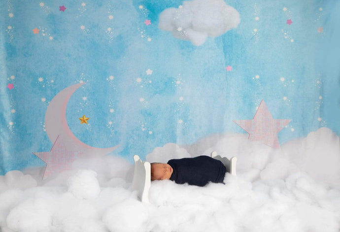 Katebackdrop:Kate Clouds with Moon and Stars Children Backdrop for Photography Designed by JFCC