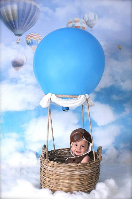 Kate Blue Sky Cloud Hot Air Colored Balloon Backdrop For Children - Katebackdrop