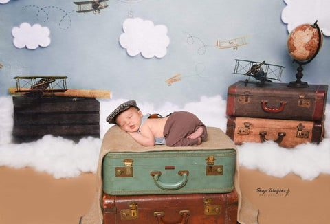 Kate Come Fly with Me Cloud Back to School Children Backdrop for Photography Designed by Erin Larkins