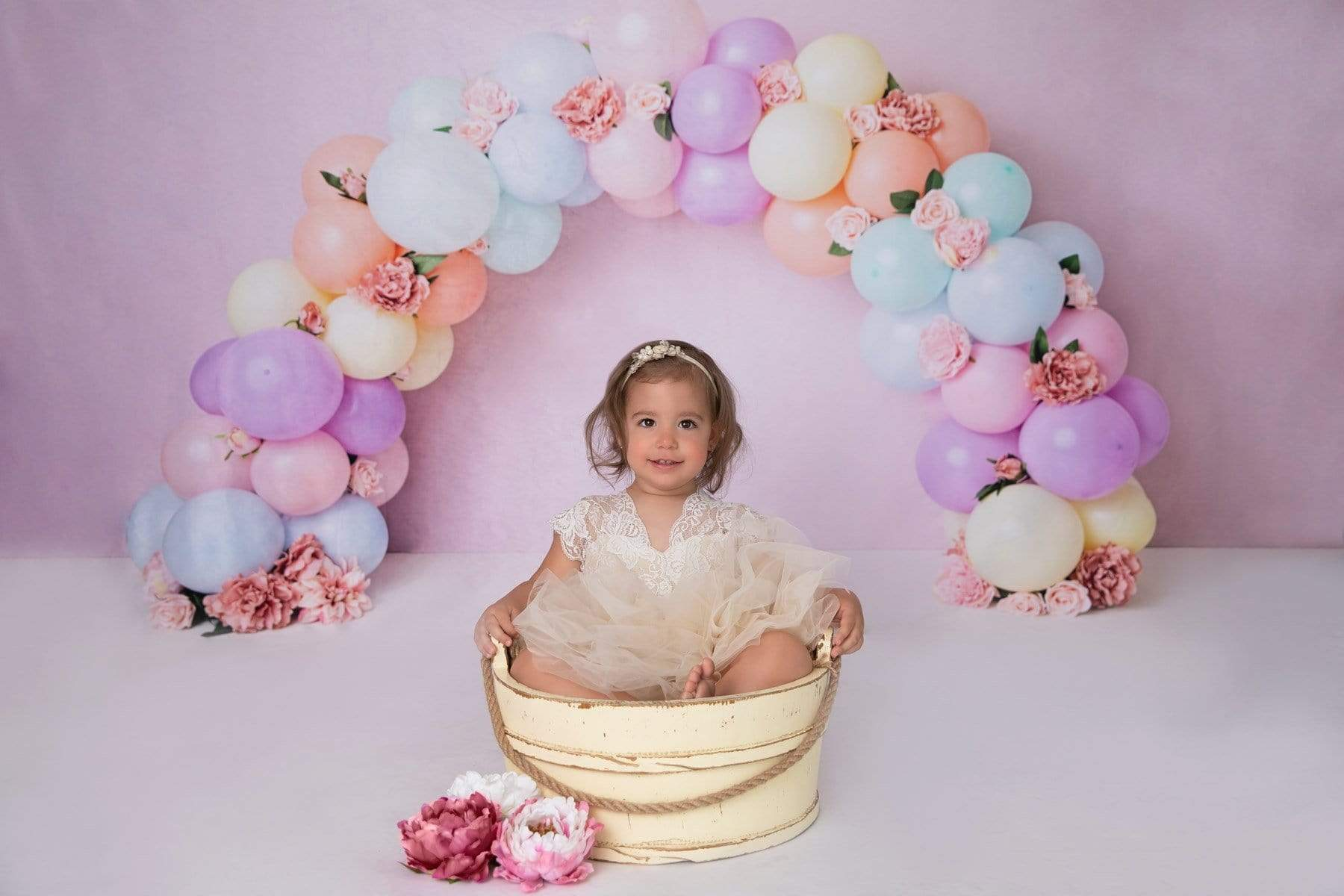 Load image into Gallery viewer, Katebackdrop£ºKate Balloons Rainbow with Flowers for Children Backdrop for Photography Designed by Kerry Anderson