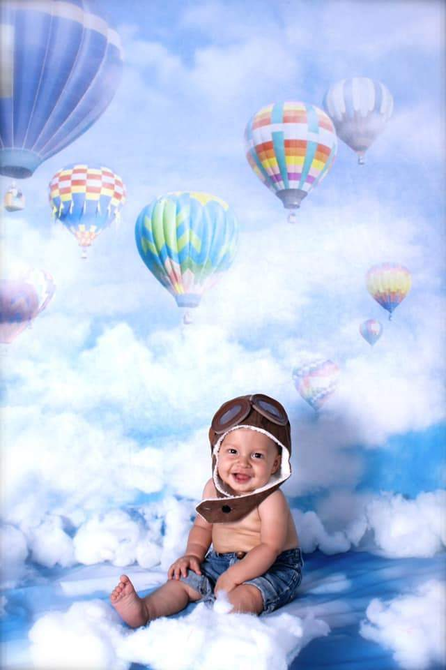 Kate Blue Sky Cloud Hot Air Colored Balloon Backdrop For Children